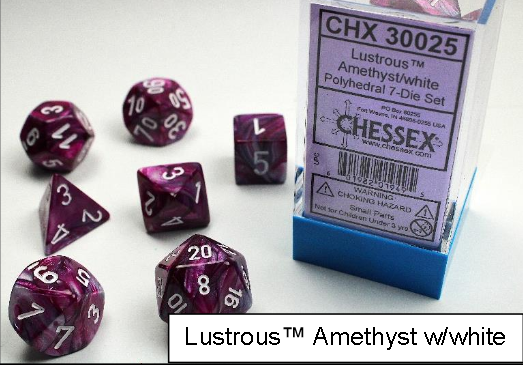 Chessex Lab Dice: Lustrous™ Amethyst/White 7-Die Set [Limited/Allocated]