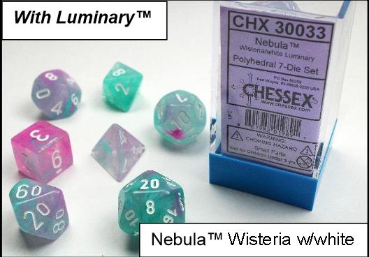 Chessex Lab Dice: Nebula™ Wisteria/White Luminary 7-Die Set [Limited/Allocated]