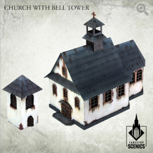 Kromlech Tabletop Scenics: Poland 1939 Church with Bell Tower