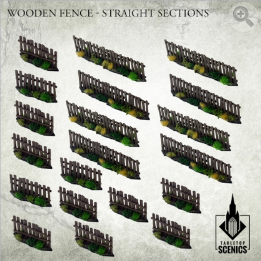 Kromlech Tabletop Scenics: Poland 1939 Wooden Fence - Straight Sections