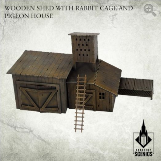 Kromlech Tabletop Scenics: Poland 1939 Wooden Shed with Rabbit Cage and Pigeon House