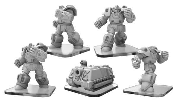 Monsterpocalypse: Exo-Armors, Elite Exo-Armor, Super Tank  – G.U.A.R.D. Units (metal/resin)