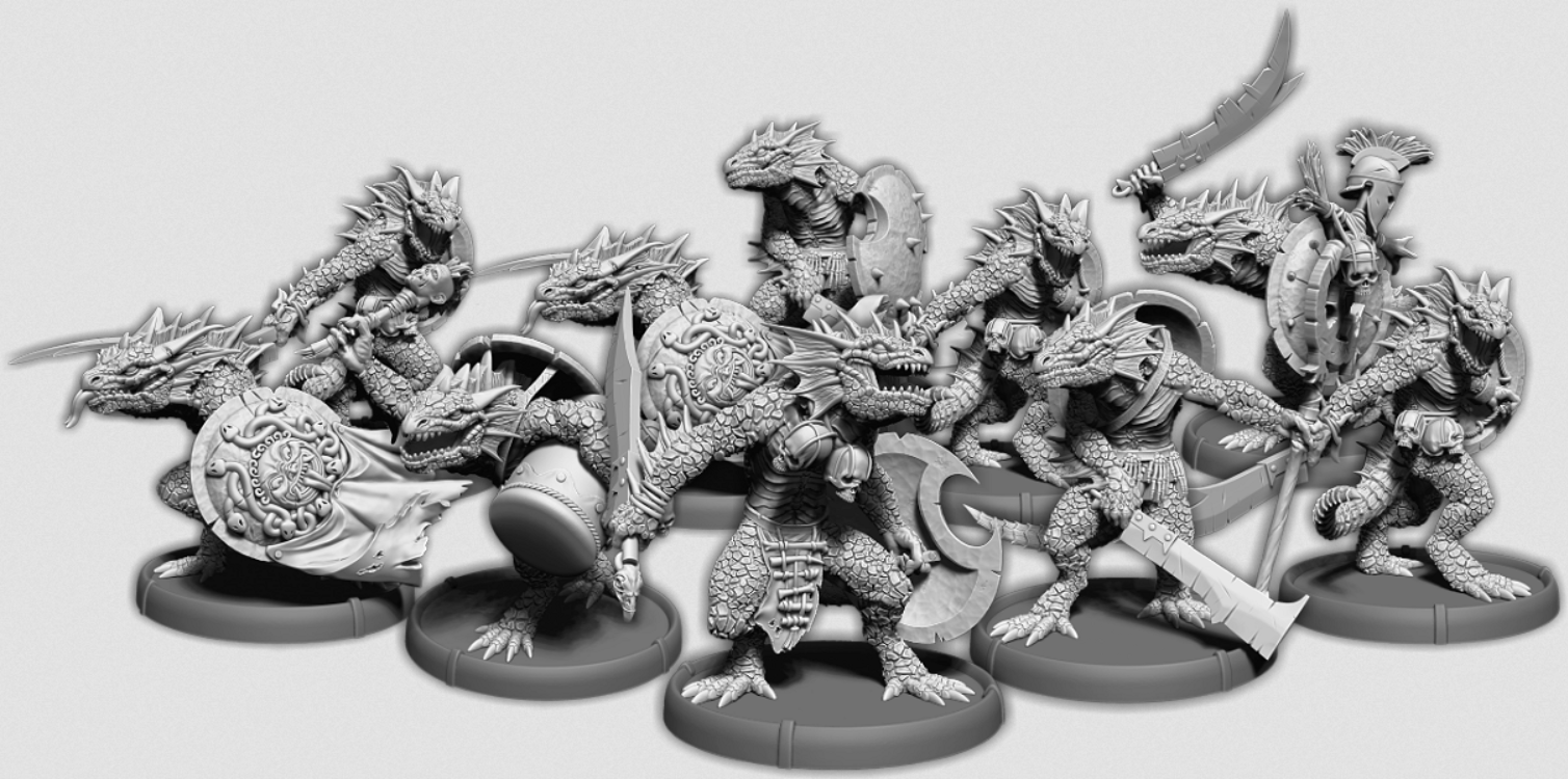 Darklands:   Gukkok's Blades, Sávrar Unit (10x warriors w/cmd) (resin)