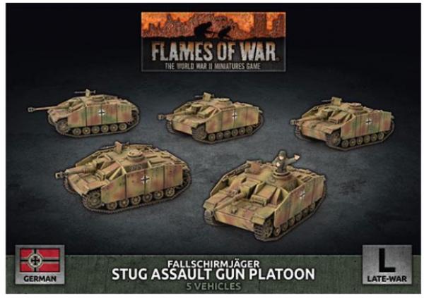 Flames of War: (German) Fallschirmjäger StuG Assault Gun Platoon (x5 Plastic)