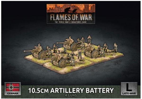 Flames of War: (German) 10.5cm Artillery Battery (x4 Plastic)