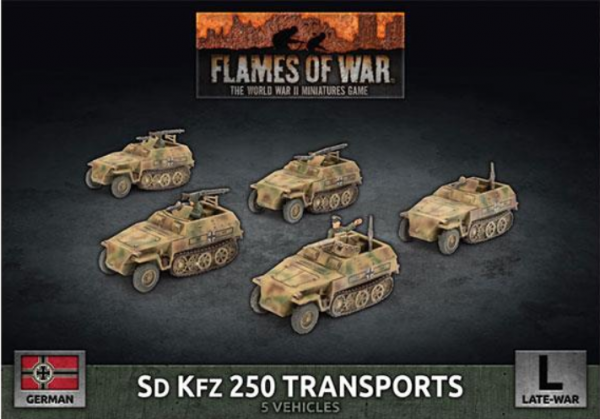 Flames of War: (German) Sd Kfz 250 Reconnaissance (MG and 3.7cm) Transports (x7 Plastic)