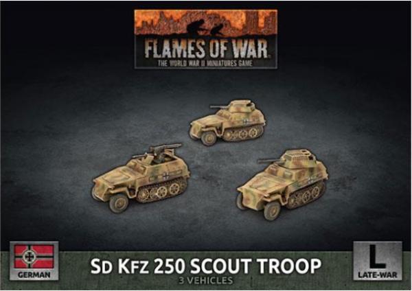 Flames of War: (German) Sd Kfz 250 8cm/7.5cm/2cm Scout Troop (x3 Plastic)