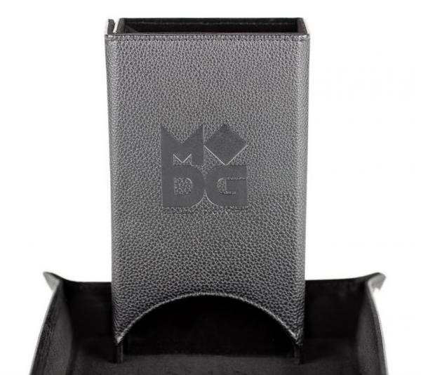 Fold Up Leather Dice Tower - Black