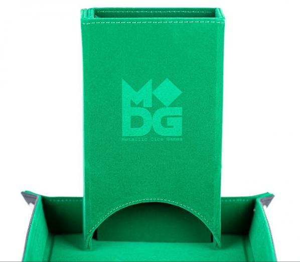 Fold Up Velvet Dice Tower - Green