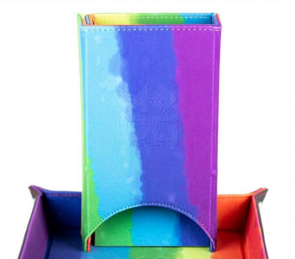 Fold Up Velvet Dice Tower - Watercolor Rainbow