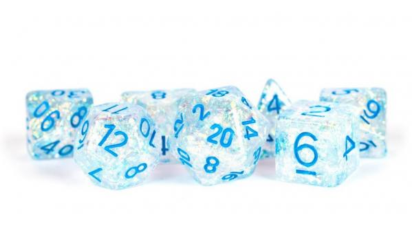 Polyhedral Dice Set: (Resin) Flash Dice Poly Set - Clear w/ Light Blue Numbers 7-die set (16mm)