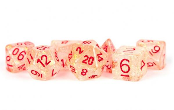 Polyhedral Dice Set: (Resin) Flash Dice Poly Set - Orange w/ Red Numbers 7-die set (16mm)