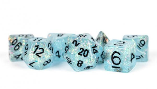 Polyhedral Dice Set: (Resin) Flash Dice Poly Set - Blue w/ Black Numbers 7-die set (16mm)