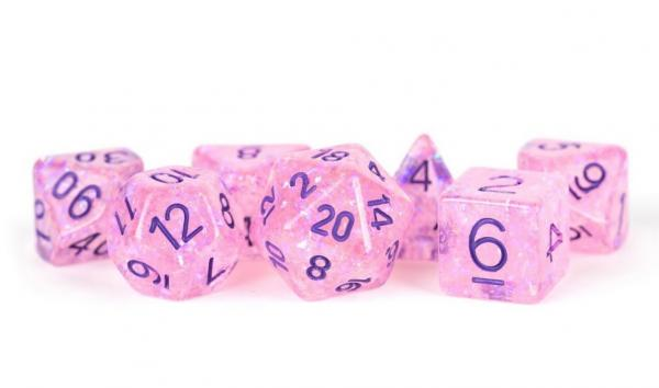 Polyhedral Dice Set: (Resin) Flash Dice Poly Set - Pink w/ Purple Numbers 7-die set (16mm)