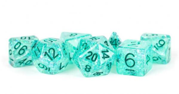 Polyhedral Dice Set: (Resin) Flash Dice Poly Set - Teal w/ Green Numbers 7-die set (16mm)