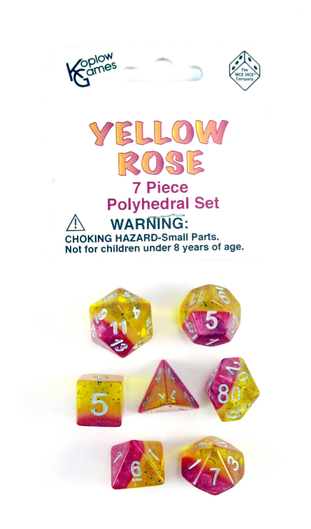 Layered Dice: Yellow Rose (7-die set)