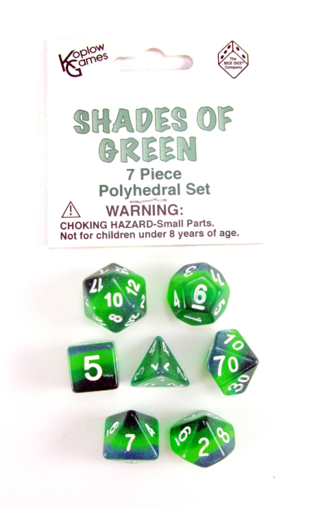 Layered Dice: Shades of Green (7-die set)