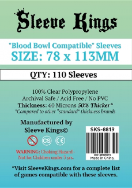 Sleeve Kings: ''Blood Bowl Compatible'' Sleeves (78x113mm) -110 Pack, 60 Microns