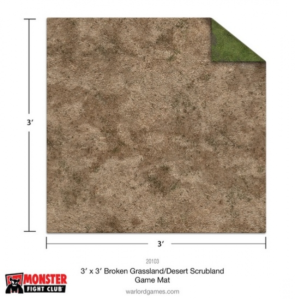 Monster Game Mat: 3x3' – Broken Grassland / Desert Scrubland