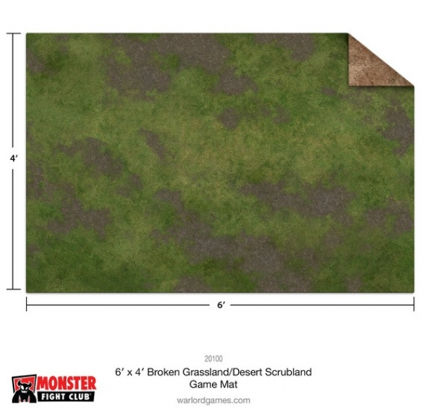 Monster Game Mat: 6x4' – Broken Grassland / Desert Scrubland (Ungridded)