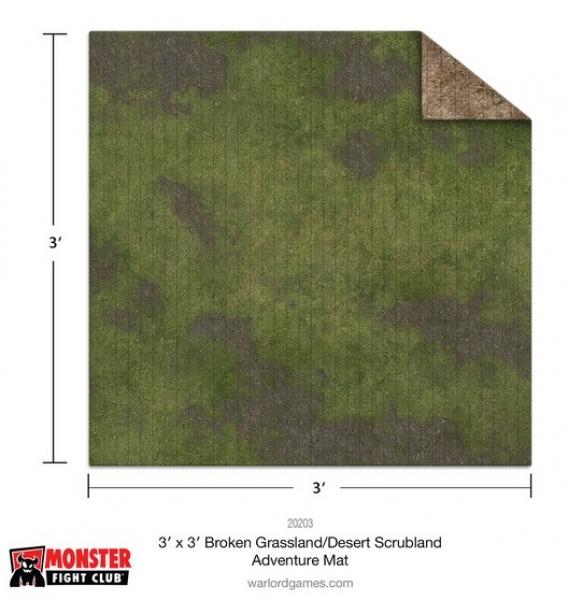 Monster Game Mat: 3x3' – Broken Grassland / Desert Scrubland Adventure Grid
