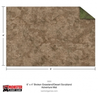 Monster Game Mat: 6x4' – Broken Grassland / Desert Scrubland Adventure Grid