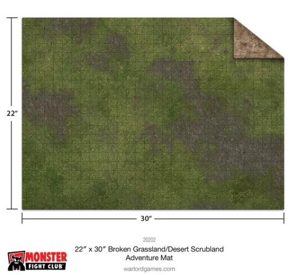 "Monster Game Mat: 22x30"" – Broken Grassland / Desert Scrubland Adventure (Gridded)"