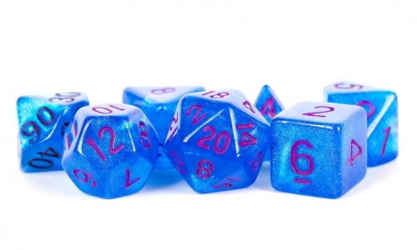 Acrylic Dice Set: 16mm Stardust - Blue with Purple Numbers