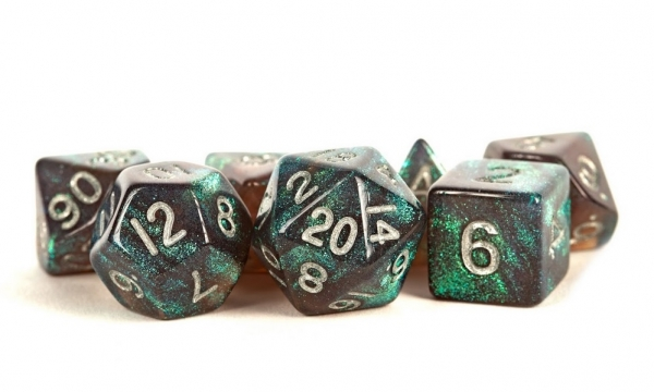 Acrylic Dice Set: 16mm Stardust - Grey with Silver Numbers
