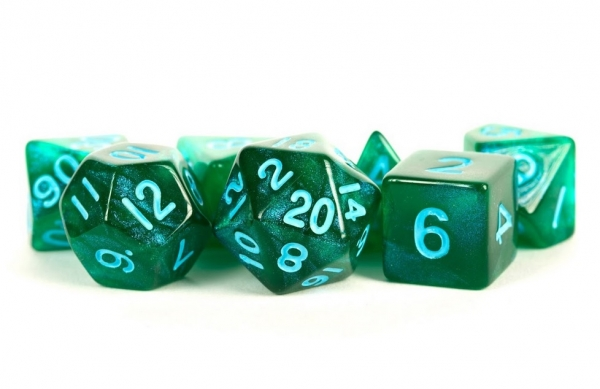 Acrylic Dice Set: 16mm Stardust - Green with Blue Numbers