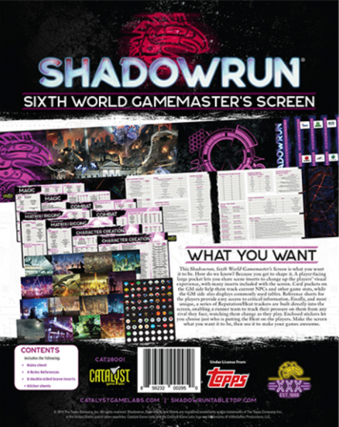 Shadowrun RPG 6th Edition: Sixth World Gamemaster Screen