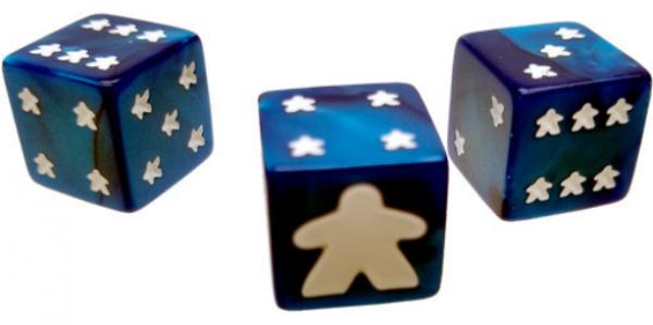 Meeple D6 Dice Set - Blue