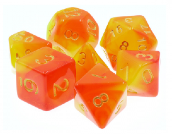 Dargon's Dice: Lava Shock (7) Yellow/Orange Fusion Set 16mm (7)