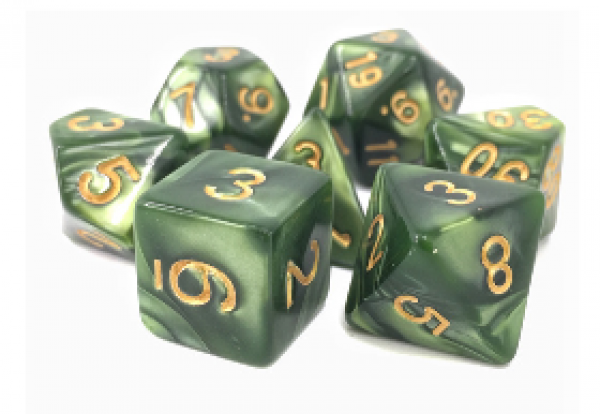 Dargon's Dice: Druid's Summer (Grass Pearl Opaque) Set 16mm (7)