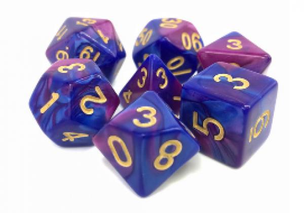 Dargon's Dice: Prismatic Blast (Purple/Blue Fusion) Set 16mm (7)