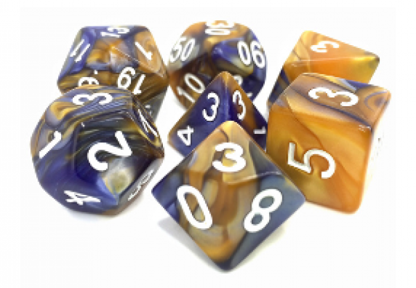 Dargon's Dice: Midnight Sun (Dark Blue/Gold) Set 16mm (7)