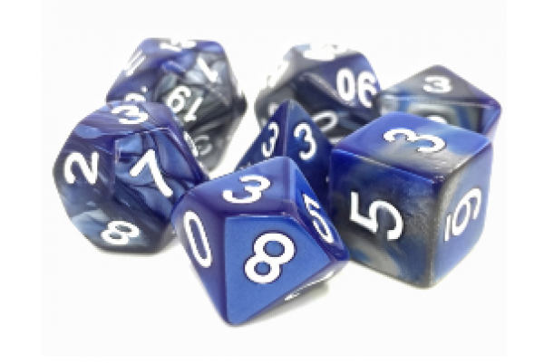 Dargon's Dice: Blessed Steel (Silver/Blue Fusion) Set 16mm (7)