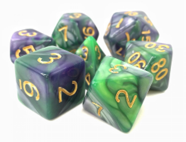 Dargon's Dice: Void Contract (Green/Purple Fusion) Set 16mm (7)