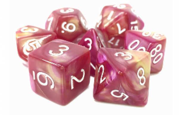Dargon's Dice: Sharazad's Tale (Yellow/Rose Fusion) Set 16mm (7)