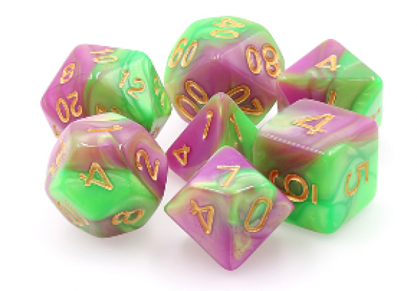Dargon's Dice: Harlequin's Vow (Green/Rose Fusion) Set 16mm (7)