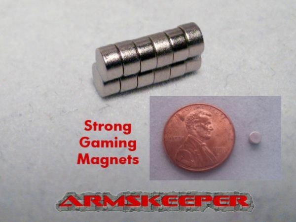 ArmsKeeper: Strong Gaming Magnets (Medium - 1/8''dia x 1/16'') [Mega Pack of 12]