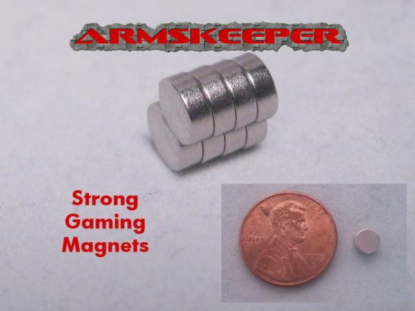 ArmsKeeper: Strong Gaming Magnets (Large - 3/16''dia x 1/16'') [Mega Pack of 8]