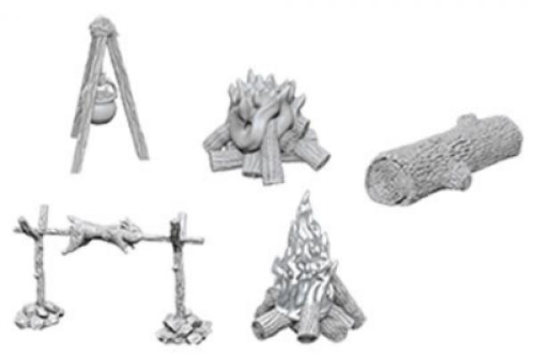 WizKids Deep Cuts Unpainted Miniatures: Camp Fire & Sitting Log