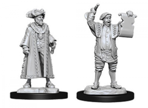 WizKids Deep Cuts Unpainted Miniatures: Mayor & Town Crier (2)