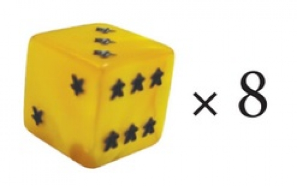Meeple D6 Dice Set - Yellow