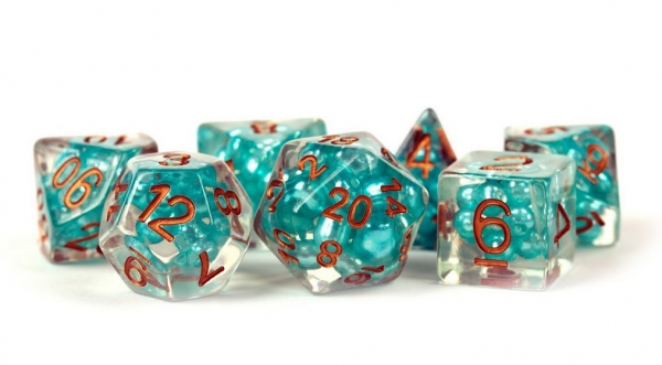 Polyhedral Dice Set: (Resin) Pearl Dice Poly Set - Teal w/ Copper Numbers 7-die set (16mm)