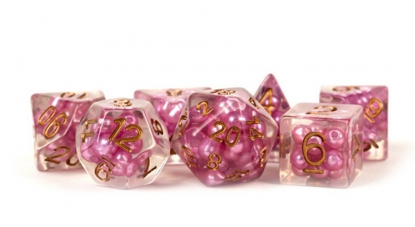 Polyhedral Dice Set: (Resin) Pearl Dice Poly Set - Pink w/ Copper Numbers 7-die set (16mm)