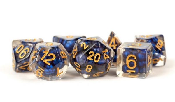 Polyhedral Dice Set: (Resin) Pearl Dice Poly Set - Royal Blue w/ Gold Numbers 7-die set (16mm)