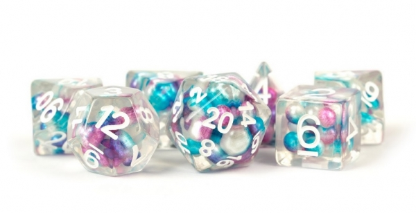 Polyhedral Dice Set: (Resin) Pearl Dice Poly Set - Gradient Purple / Teal / White 7-die set (16mm)