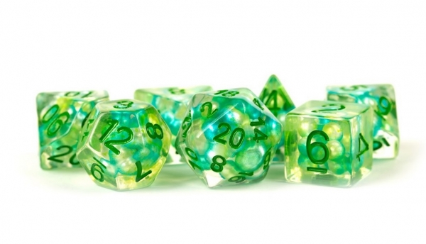Polyhedral Dice Set: (Resin) Pearl Dice Poly Set - Sea Foam 7-die set (16mm)